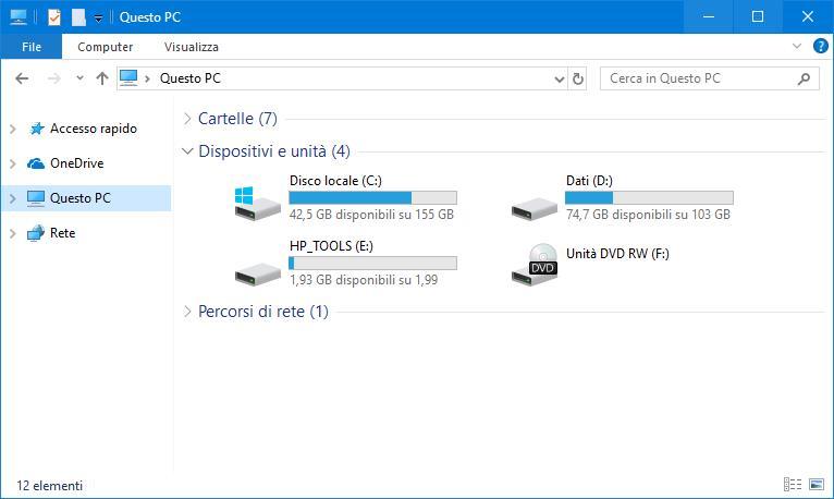immagine spazio hard disk