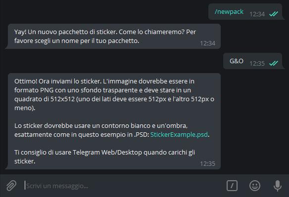 come creare stickers su Telegram