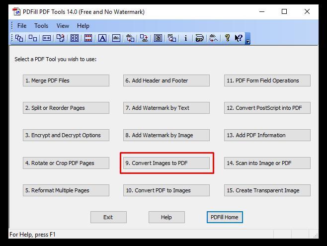 PDFill Tools opzione da selezionare