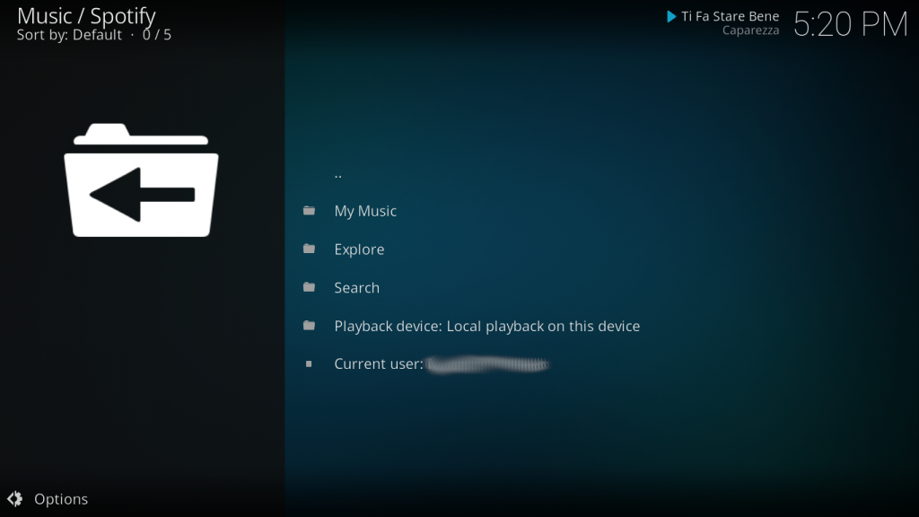 Spotify Add-on menu Kodi